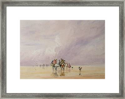 Crossing Lancaster Sands Framed Print by David Cox
