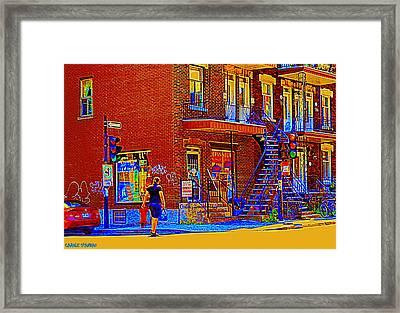 Crossing Laurier Depanneur Maboule Tabagie Biere Et Vin Montreal Street Scene Art By Carole Spandau Framed Print by Carole Spandau