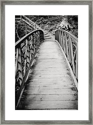 Crossing Over - Black And White Framed Print