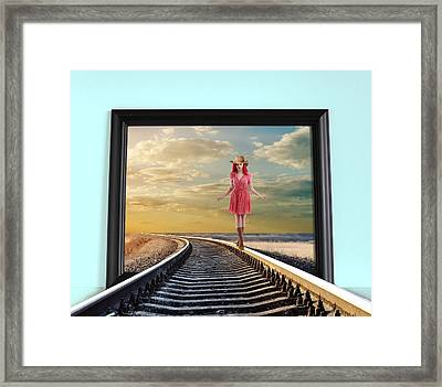 Framed Print featuring the digital art Crossing Over by Nina Bradica