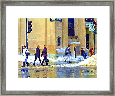 Crossing St Catherine At Drummond Downtown Montreal Centre Ville Urban Winter Street Scene Cspandau  Framed Print by Carole Spandau