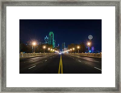 Crossing The Bridge To Downtown Dallas At Night Framed Print