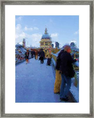 Crossing The Bridge To Saint Pauls Framed Print by Jenny Armitage