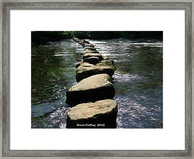 Framed Print featuring the painting Crossing The Creek by Bruce Nutting