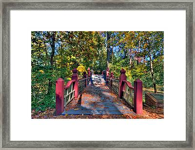 Crossing The Crim Dell Bridge Framed Print