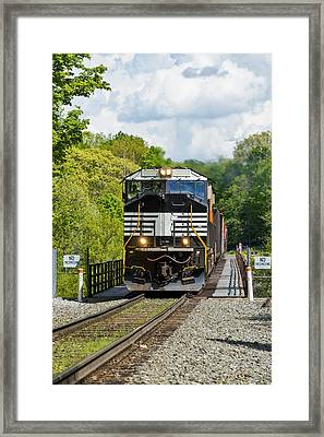 Crossing The Railroad Trestle Framed Print