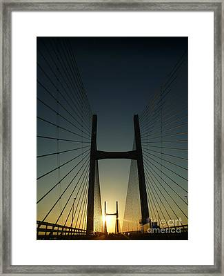 Crossing The Severn Bridge At Sunset - Cardiff - Wales Framed Print by Vicki Spindler