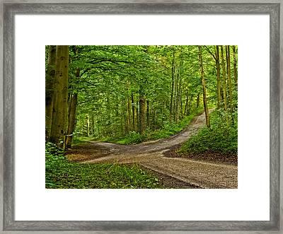 Crossroads After A Night Of Rain Framed Print by Martin Liebermann