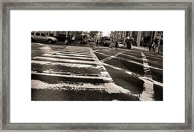 Crosswalk In New York City Framed Print