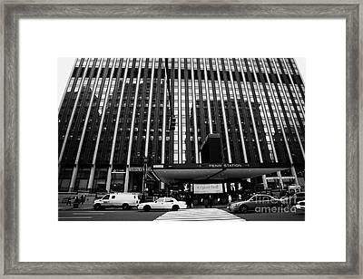 Crosswalk Leading To Penn Station And Madison Square Garden Seventh Avenue New York City Framed Print by Joe Fox
