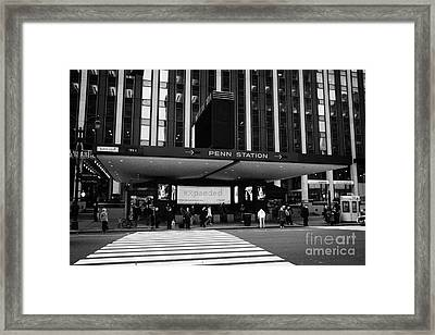 Crosswalk Leading To Penn Station And Madison Square Garden Seventh Avenue New York Framed Print