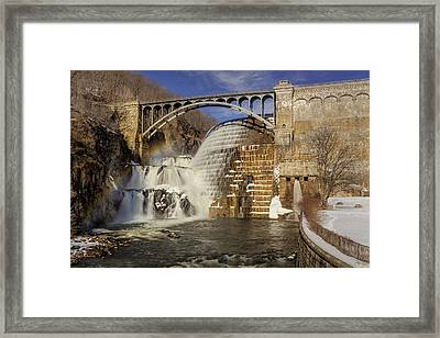 Croton Dam And Rainbow Framed Print by Susan Candelario