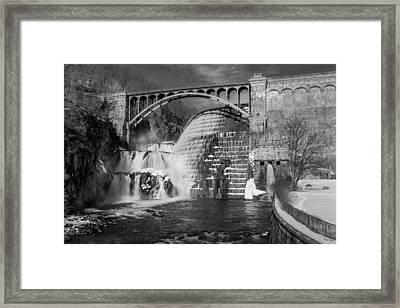 Croton Dam Bw Framed Print