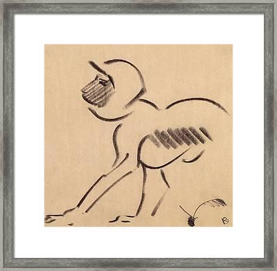 Crouching Monkey Framed Print
