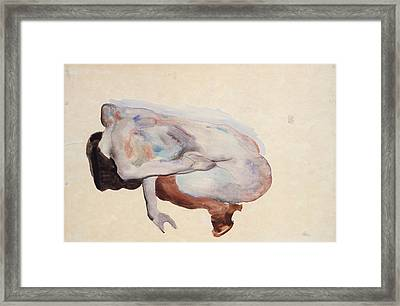 Crouching Nude In Shoes And Black Stockings. Back View Framed Print