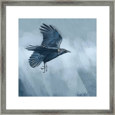 Framed Print featuring the digital art Crow by Aaron Blaise