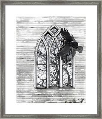 Crow Church Framed Print by Judy Wood