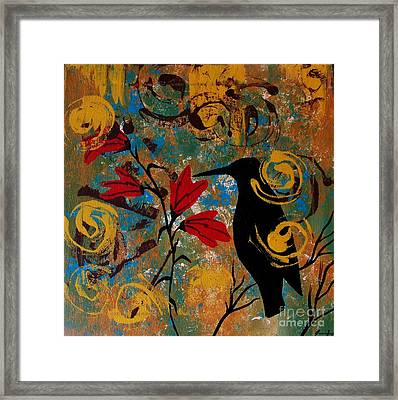 Crow Healing In The Ancient Garden Framed Print