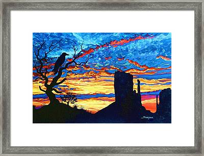 Crow In Sunset Framed Print