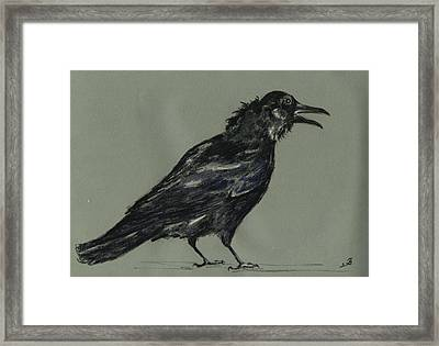 Crow Framed Print by Juan  Bosco