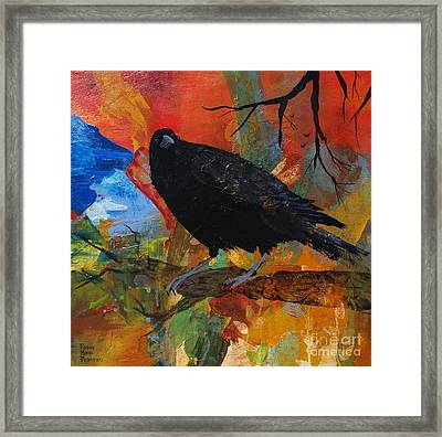 Crow On A Branch Framed Print by Robin Maria Pedrero