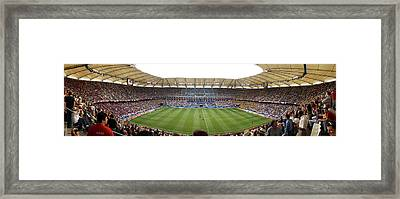 Crowd In A Stadium To Watch A Soccer Framed Print