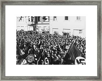 Crowd In Oberwart, Austria, Saluting Framed Print