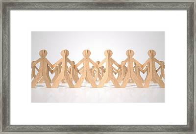 Crowd Of Cutout Paper Cardboard Men Framed Print