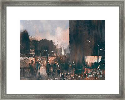 Crowd Of People Walking In The Framed Print