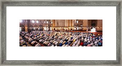 Crowd Praying In A Mosque, Suleymanie Framed Print by Panoramic Images