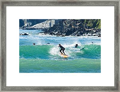 Crowded Day At First Beach Cropped Framed Print by Hali Sowle