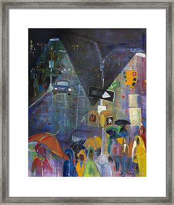 Crowded Intersection Framed Print by Leela Payne