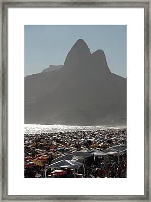 Crowded Ipanema Beach Scene, Rio De Framed Print