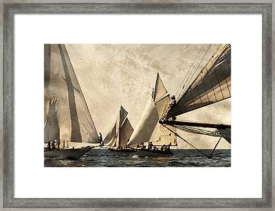 A Vintage Processed Image Of A Sail Race In Port Mahon Menorca - Crowded Sea Framed Print