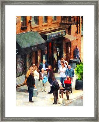 Crowded Sidewalk In New York Framed Print by Susan Savad