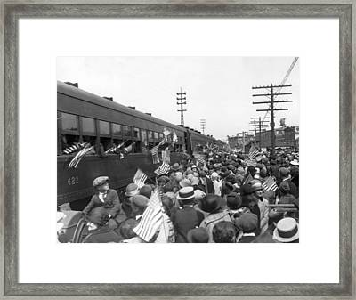 Crowds Cheer Ny Train Service Framed Print by Underwood Archives