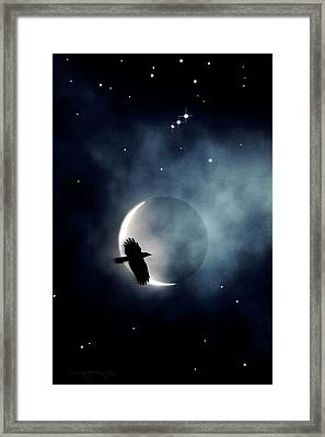 Crowmoon And Orion Framed Print