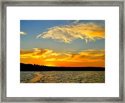 Crown Lake  Sunset  Retired Ahhh Framed Print by Cindy Croal
