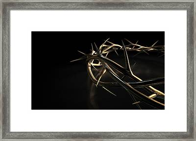 Crown Of Thorns Gold On Black Framed Print by Allan Swart