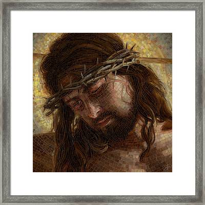 Framed Print featuring the painting Crown Of Thorns Glass Mosaic by Mia Tavonatti