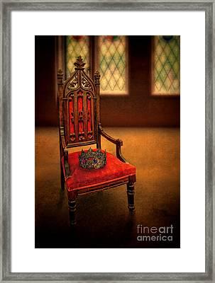 Crown On Chair Framed Print by Jill Battaglia