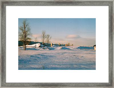 Crown Point Chimneys With Snow Framed Print by David Fiske