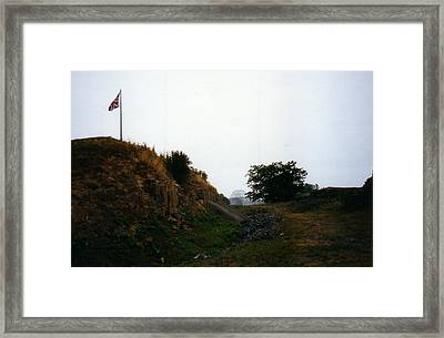 Crown Point Flag And Bridge Framed Print by David Fiske