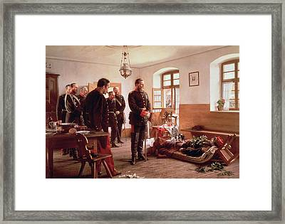 Crown Prince Frederick By The Corpse Of General Douay At The Battle Of Wissembourg, 1870 Framed Print