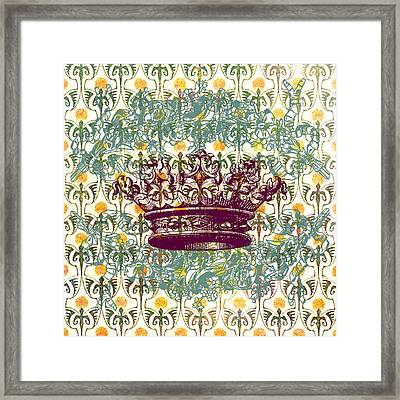 Crown Vintage With Medieval Background Framed Print