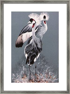 Framed Print featuring the painting Crowned Cranes by DiDi Higginbotham