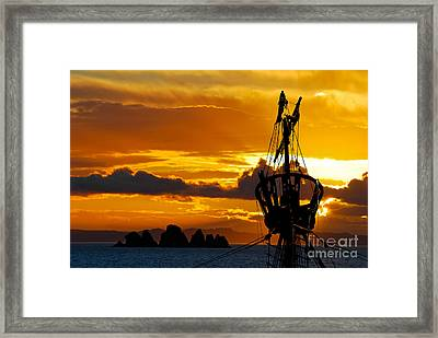 Crows Nest Silhouette On Newfoundland Coast Framed Print