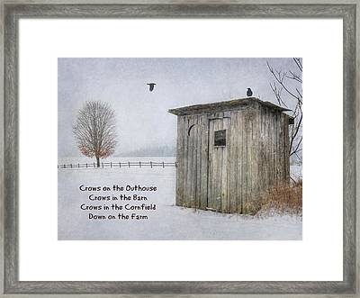 Crows On The Outhouse Framed Print