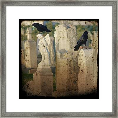 Crows On Tombstones Framed Print by Gothicrow Images