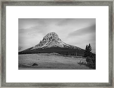 Crowsnest Mountain Black And White Framed Print